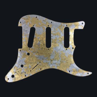 Metallic Impressionist Mercury Pickguard - Foglia Oro/Argento (Stratocaster type)