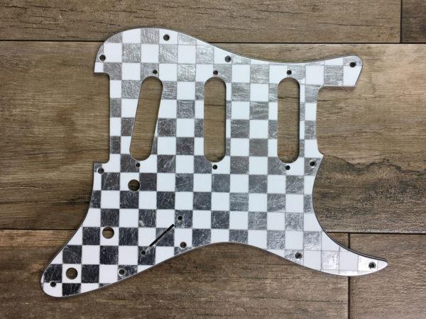 Checkered Mercury Pickguard - Silver/White (Stratocaster type)