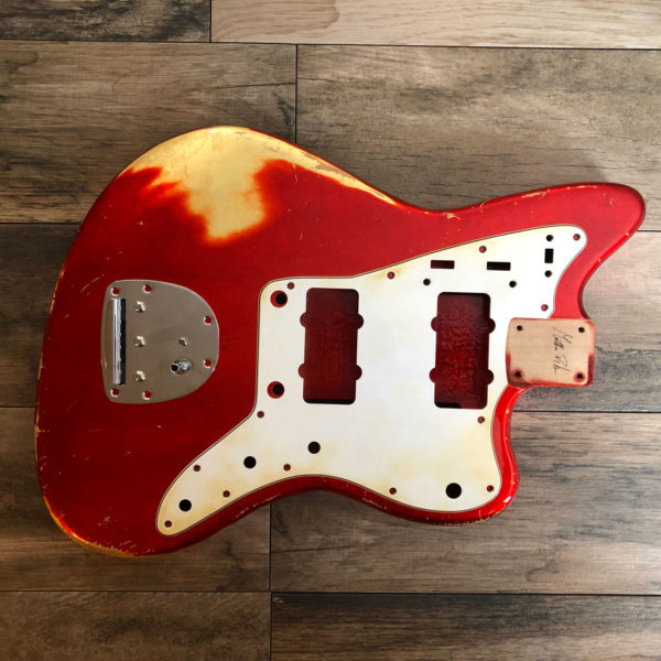 Over Leaf Neptune Body - Candy Apple Red over Gold Leaf (Jazzmaster type)