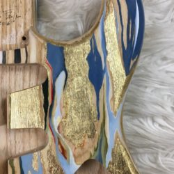 Colored Wood Grain Mercury Body - Blue/Gold Leaf (Stratocaster type)