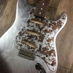 Metallic Impressionist Mercury Pickguard - Silver/Bronze Leaf (Stratocaster type)