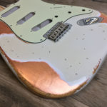 Over Leaf Mercury Body - Olympic White over Copper Leaf (Stratocaster type)