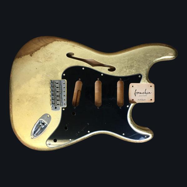 Metallic Relic Mercury Thinline Body - Gold Leaf (Stratocaster type)